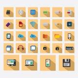 Τα εικονίδια τεχνολογίας καθορισμένα το χρώμα σκιών Στοκ εικόνα με δικαίωμα ελεύθερης χρήσης
