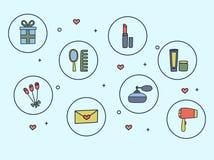 Τα εικονίδια των εξαρτημάτων και των καλλυντικών γυναικών δίνουν συμένος doodle στο ύφος επίσης corel σύρετε το διάνυσμα απεικόνι Στοκ Εικόνες