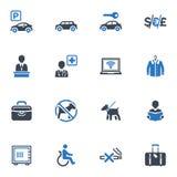 Τα εικονίδια υπηρεσιών και εγκαταστάσεων ξενοδοχείων, θέτουν 1 - μπλε  Στοκ φωτογραφίες με δικαίωμα ελεύθερης χρήσης