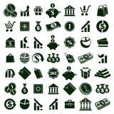 Τα εικονίδια χρημάτων στο άσπρο διανυσματικό σύνολο υποβάθρου, χρηματοδοτούν διανυσματική απεικόνιση