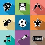 Τα εικονίδια ψυχαγωγίας καθορισμένα το επίπεδο σχέδιο Στοκ εικόνα με δικαίωμα ελεύθερης χρήσης