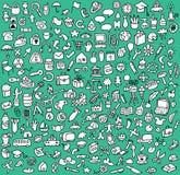 Εικονίδια XXL Doodle που τίθενται σε γραπτό Στοκ Φωτογραφίες