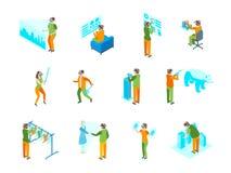 Τα εικονικά αυξημένα τρισδιάστατα εικονίδια ανθρώπων καθορισμένα τη Isometric άποψη διάνυσμα Στοκ Εικόνες