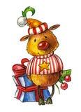Τα ελάφια σε ένα καπέλο και ένα ριγωτό πουκάμισο με ένα κίτρινο αστέρι στο στήθος του απομόνωσαν το αντικείμενο στοκ εικόνες
