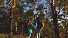 Τα ελεύθερα διακινούμενα κορίτσια με τα σακίδια πλάτης πηγαίνουν στο δρόμο απολαμβάνοντας τη φύση Σχέση των παιδιών και των γονέω φιλμ μικρού μήκους