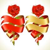 Τα εμβλήματα κορδελλών με μορφή της καρδιάς και κόκκινος αυξήθηκαν Στοκ εικόνα με δικαίωμα ελεύθερης χρήσης