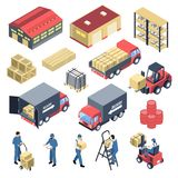 Τα εμπορεύματα στεγάζουν τα Isometric εικονίδια καθορισμένα ελεύθερη απεικόνιση δικαιώματος