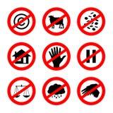 Τα εναλλακτικά σημάδια απαγόρευσης θέτουν 2 Στοκ Εικόνες
