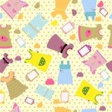 Τα ενδύματα μωρών καθορισμένα το άνευ ραφής σχέδιο - αστείο σχέδιο Στοκ φωτογραφία με δικαίωμα ελεύθερης χρήσης