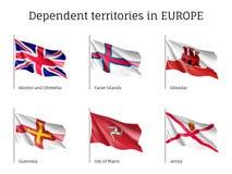 Τα εξαρτώμενα εδάφη σημαιοστολίζουν τη διανυσματική συλλογή Στοκ Εικόνα