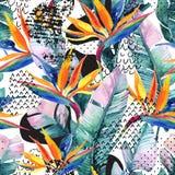 Τα εξωτικά λουλούδια, φύλλα, ομαλή μορφή κάμψεων γέμισαν με το doodle, ελάχιστο, grunge σύσταση αφηρημένη ανασκόπηση Στοκ Εικόνες