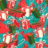 Τα εορταστικά Χριστούγεννα και το νέο έτος άνευ ραφής παρουσιάζουν το σχέδιο στο vint Στοκ Φωτογραφία