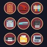 Τα επίπεδα εικονίδια γραφείων το διανυσματικό σχέδιο επιχειρησιακής απεικόνισης που απομονώνεται καθορισμένα απεικόνιση αποθεμάτων