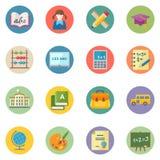 Τα επίπεδα εικονίδια εκπαίδευσης θέτουν 1 - διαστίξτε τη σειρά Στοκ Εικόνες