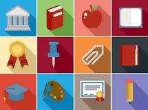 Τα επίπεδα εικονίδια εκπαίδευσης καθορισμένα το σχέδιο Στοκ Φωτογραφίες