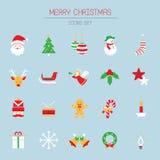 Τα επίπεδα εικονίδια θέτουν: Αντικείμενα Χριστουγέννων διανυσματική απεικόνιση