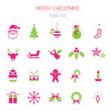 Τα επίπεδα εικονίδια θέτουν: Αντικείμενα Χριστουγέννων Ελεύθερη απεικόνιση δικαιώματος