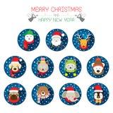 Τα επίπεδα εικονίδια θέτουν: : Χριστούγεννα, Santa & ζώα διανυσματική απεικόνιση