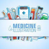 Τα επίπεδα εικονίδια ιατρικής καθορισμένα την έννοια διάνυσμα Στοκ Εικόνα