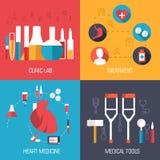 Τα επίπεδα εικονίδια ιατρικής καθορισμένα την έννοια διάνυσμα Στοκ Εικόνες