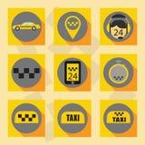 Τα επίπεδα εικονίδια καθορισμένα το ταξί Στοκ Εικόνες