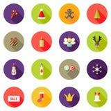 Τα επίπεδα εικονίδια κύκλων Χριστουγέννων θέτουν 3 Στοκ Εικόνες