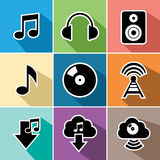 Τα επίπεδα εικονίδια μουσικής καθορισμένα την απεικόνιση Στοκ Εικόνες