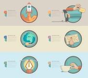Τα επίπεδα εμβλήματα σχεδίου με το σύνολο επίπεδων εικονιδίων έννοιας για τον Ιστό σχεδιάζουν και τα επιχειρησιακά πρότυπα Στοκ Εικόνες