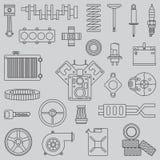 Τα επίπεδα διανυσματικά μέρη αυτοκινήτων εικονιδίων γραμμών θέτουν με τα εσωτερικά στοιχεία μηχανών τελών συστημάτων προσγείωσης  Στοκ εικόνες με δικαίωμα ελεύθερης χρήσης