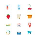 Τα επίπεδα διανυσματικά τρόφιμα πίνουν app Ιστού εστιατορίων φραγμών καφέδων το κινητό εικονίδιο Στοκ εικόνες με δικαίωμα ελεύθερης χρήσης