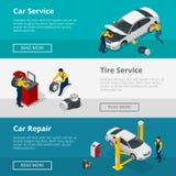 Τα επίπεδα οριζόντια εμβλήματα με τους εργαζομένους σκηνών στην υπηρεσία επισκευής αυτοκινήτων κεντροθετούν, κουράζουν την υπηρεσ Στοκ φωτογραφία με δικαίωμα ελεύθερης χρήσης