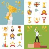 Τα επίπεδα σύμβολα βραβείων σχεδίου και τα εικονίδια τροπαίων καθορισμένα τη διανυσματική απεικόνιση Στοκ φωτογραφίες με δικαίωμα ελεύθερης χρήσης