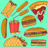 Τα επίπεδα φωτεινά λαϊκά εικονίδια γρήγορου φαγητού τέχνης διανυσματικά θέτουν τη συμπερίληψη του burrito, burger, πίτσα, σάντουι ελεύθερη απεικόνιση δικαιώματος