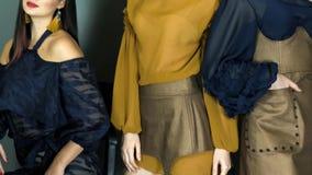 Τα επαγγελματικά πρότυπα μόδας στον κομψό ιματισμό με το γοητευτικό makeup στο στούντιο θέτουν στη κάμερα απόθεμα βίντεο