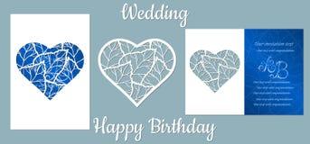Τα επιγραφή-ευτυχή γενέθλια, γάμος Σημύδα, φύλλα Σημύδα καρτών, φύλλα, στην καρδιά, και το διάστημα για το κείμενο Τέμνον πρότυπο διανυσματική απεικόνιση