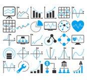Τα επιχειρησιακά διαγράμματα με τον κύκλο διαστίζουν τα διανυσματικά εικονίδια Στοκ Εικόνες