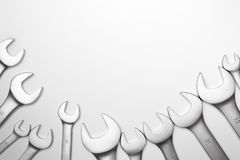 Τα εργαλεία χάλυβα γαλλικών κλειδιών για την επισκευή Στοκ Φωτογραφία