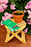 Τα εργαλεία κηπουρικής στον ξύλινο πίνακα και αυξήθηκαν υπόβαθρο λουλουδιών Στοκ εικόνες με δικαίωμα ελεύθερης χρήσης