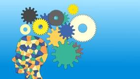 Τα εργαλεία περιστρέφονται μέσα στον ανθρώπινο εγκέφαλο και μια ιδέα, ζωτικότητα, ελεύθερη απεικόνιση δικαιώματος