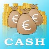 Τα ευρο- μετρητά σημαίνουν την ευρωπαϊκή τρισδιάστατη απεικόνιση νομίσματος απεικόνιση αποθεμάτων
