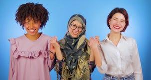 Τα ευρωπαϊκά, αφρικανικά και μουσουλμανικά χέρια λαβής, αυξάνουν τα χέρια ως σημάδι της φιλίας μεταξύ των εθνών Διεθνής, απομονωμ απόθεμα βίντεο