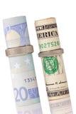 τα ευρώ δολαρίων χτυπούν το γάμο Στοκ Φωτογραφία