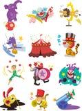 τα ευτυχή εικονίδια συλλογής τσίρκων κινούμενων σχεδίων εμφανίζουν Στοκ Εικόνες
