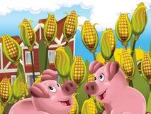 Τα ευτυχή ζώα στο αγρόκτημα Στοκ εικόνα με δικαίωμα ελεύθερης χρήσης