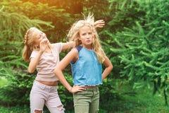 Τα ευτυχή κορίτσια διδύμων έχουν τη διασκέδαση μαζί σε ένα πάρκο στοκ φωτογραφία
