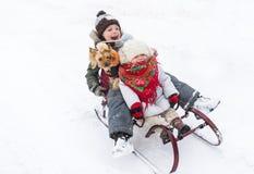 Τα ευτυχή παιδιά με το μικρό σκυλί οδηγούν μαζί σε ένα έλκηθρο snowdrift μια σαφή χειμερινή ημέρα στοκ εικόνα με δικαίωμα ελεύθερης χρήσης