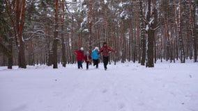 Τα ευτυχή παιδιά με το mom και τον μπαμπά παίζουν στο πάρκο πεύκων το χειμώνα Γονείς με το παιδί που τρέχει μέσω του χιονιού στο  απόθεμα βίντεο