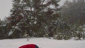 Τα ευτυχή παιδιά παίζουν τις χιονιές στο χιονώδες άσπρο βουνό στο πάρκο πεύκων Τα κορίτσια εφήβων παίζουν με το χιόνι στο χειμερι φιλμ μικρού μήκους