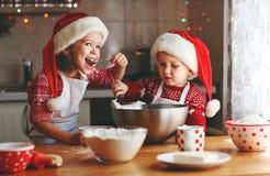 Τα ευτυχή παιδιά ψήνουν τα μπισκότα Χριστουγέννων στοκ εικόνα με δικαίωμα ελεύθερης χρήσης