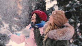 Τα ευτυχή παιχνίδια φίλων γυναικών ρίχνουν το χιόνι μαζί στη χειμερινή ημέρα, σε αργή κίνηση απόθεμα βίντεο